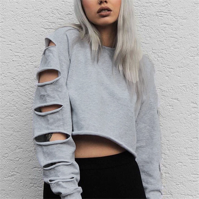 c03b4c3df93 ... Autumn Pullovers ZANZEA Women Sexy Hoodies O Neck Long Sleeve Hollow  Out Crop Tops Casual Loose ...
