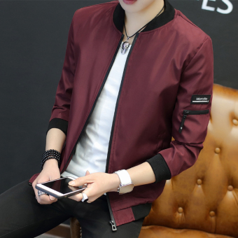Autumn thin jacket men's jacket (1702 wine red (to send Watch))