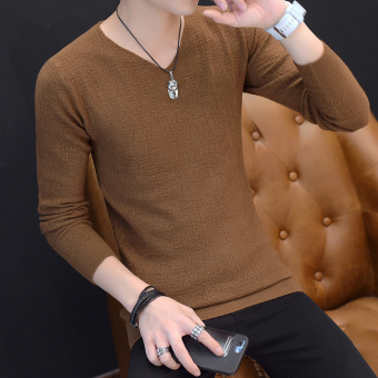 Autumn V-neck men's long-sleeved t-shirt (8811 casual)