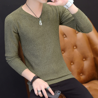 Autumn V-neck men's long-sleeved t-shirt (8811 green)