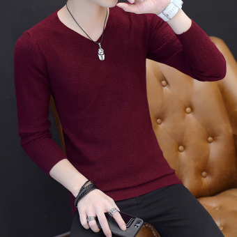 Autumn V-neck men's long-sleeved t-shirt (8811 wine red)