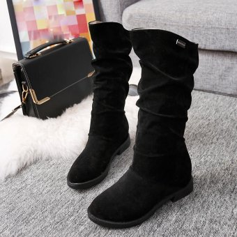 Autumn Winter Boots Women Sweet Boot Stylish Flat Flock Shoes Snow Boots - intl - 4