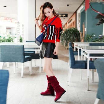 Autumn Winter Boots Women Sweet Boot Stylish Flat Flock Shoes SnowBoots - intl - 4