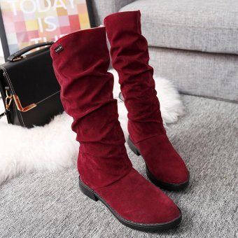 Autumn Winter Boots Women Sweet Boot Stylish Flat Flock Shoes SnowBoots - intl - 2