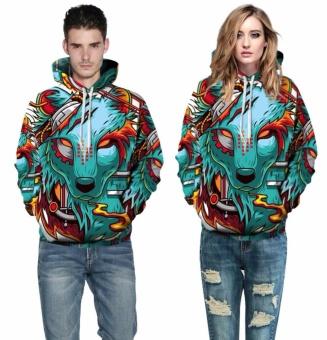 Autumn Winter New Fashion Thin Cap Sweatshirts 3d Print WolfMen/women Hooded Hoodies Casual Hoody Tops - intl - 3