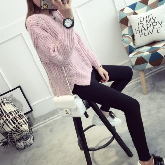 Autumn&Winter Korean Style Women's Knitted Loose Long Sleeved Pullover Sweater Pink - intl - 4