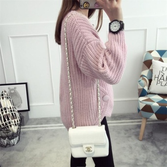 Autumn&Winter Korean Style Women's Knitted Loose Long Sleeved Pullover Sweater Pink - intl - 2