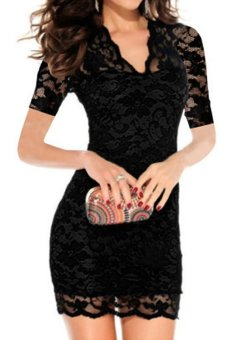 Azone Women's V-neck Short Sleeve Lace Bodycon Stretch Casual Mini Dress (Black)