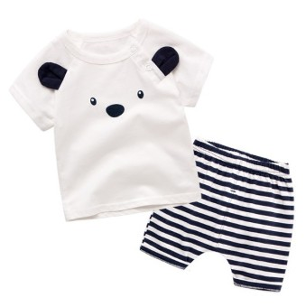 Babies'/Kids' Thin 100% Cotton Short Sleeve Outfit Set (White)