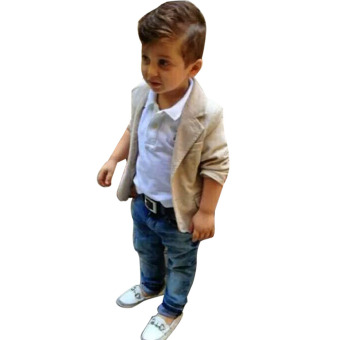 Baby Boys Gentleman Coat + Shirt +Denim Trousers Set Kids Clothes