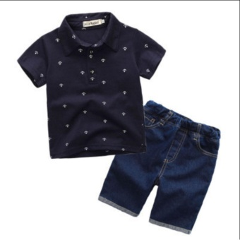 Baby Boys T-shirt+Denim shorts pants 2 pcs clothes sets(blue) -intl