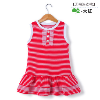 Baby cotton girls small children dress princess skirt (Red-sleeveless dress 4001) (Red-sleeveless dress 4001)