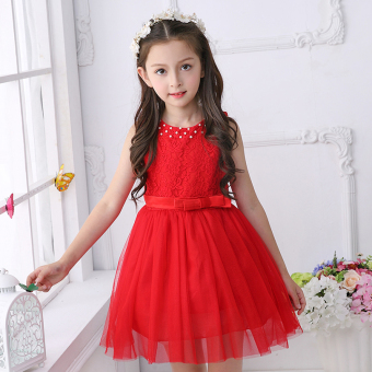 Baby girls summer New style children's dress princess dress (Red) (Red)