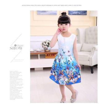 Baby Kids Children's Girl Butterfly Blue Vest Skirt Princess Dress- intl - 2