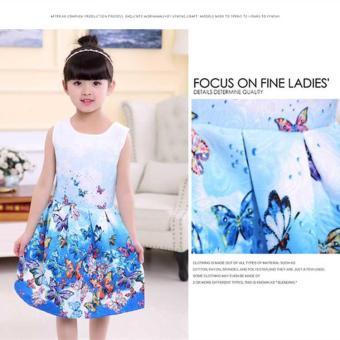 Baby Kids Children's Girl Butterfly Blue Vest Skirt Princess Dress- intl - 5