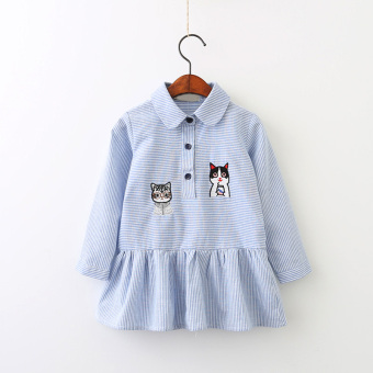 Baby Korean-style New style Spring and Autumn striped shirt princess skirt girls dress