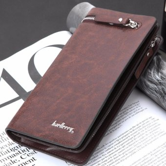 Baellerry Men Long Bifold Wallet Pockets Money Purse Credit Card Clutch (Deep Coffee) - intl