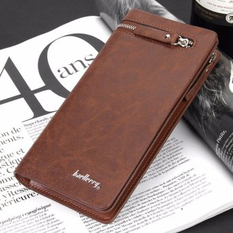Baellerry Men Long Bifold Wallet Pockets Money Purse Credit Card Clutch (Light Coffee) - intl