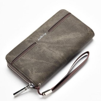 Baellerry Men's Hand Bag Leather Wallet Pu Male Casual Long Wallet- Dark Grey - intl