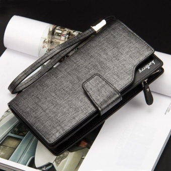 Baellery Men Long Wallet Leather Hand Bag Credit Card & Coin Holders with Hand Strap Sliver - intl