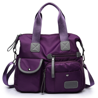 Bag New style nylon cloth bag women's bag (Purple M1733)