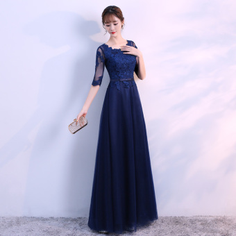 Banquet hosted performances bridesmaid dress evening dress (Dark blue color)