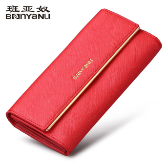 Banyanu European and American leather large capacity three fold leather wallet New style women's wallet (Red) (Red)