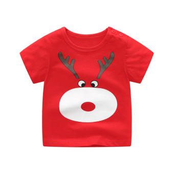 Baobao cotton spring and summer men and women children's Top T-shirt (Reindeer short sleeved)