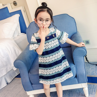 Baobao live girls summer dress (Dark blue color)