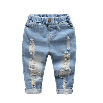 Baobao Spring and Autumn boy's children's pants with holes denim pants