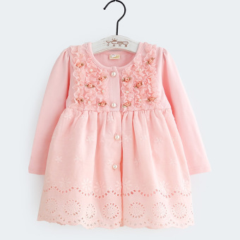 Baobao Spring and Autumn infants small children's Top girls long-sleeved dress (Pink)
