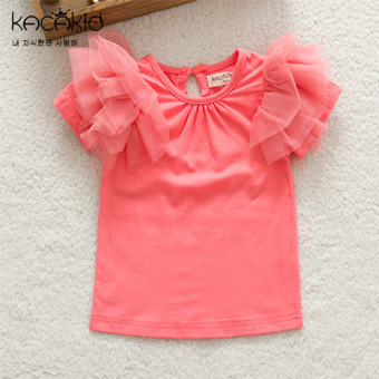 Baobao sweet gauze summer children's princess Top T-shirt (Watermelon Red)