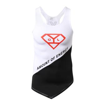 Basketball running stretch wicking sleeveless shirt fitness clothes (White black and red Standard)
