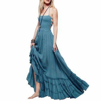 Beach dress sexy dresses boho bohemian people Holiday summer longbackless cotton women party hippie chic vestidos mujer(Blue) - intl
