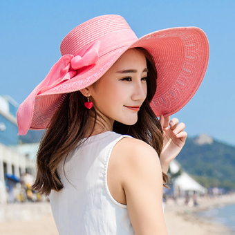 Beach embroidered Sun Protection Summer SUN hat straw hat (Pink)