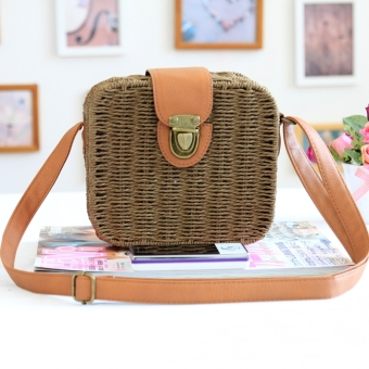 Beach rattan woven shoulder women's bag straw bag (Brown)