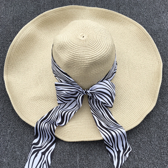 Beach ribbon women's streamers large brimmed hat (Ribbon-black and white zebra (not containing straw hat OH))
