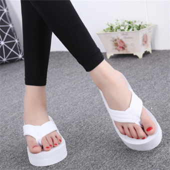 beach shoes female high-heeled with Flip Flops Sandals and slippersFlip Flops White