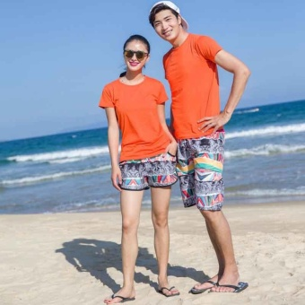 Beach shorts lovers Quick dry beach pants Casual shorts beachsummer suit for men and women couple short pants Men - intl