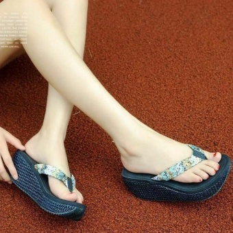 Beach Slippers Women Casual Flip Flops Female Platform Thong FlipFlops Summer Wedge Sandals Shoes Blue - intl