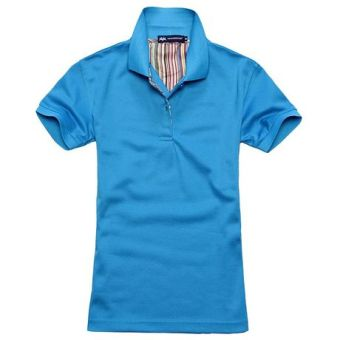 Beads to solid color Short sleeve lettered T-shirt polo shirt (Color Blue)