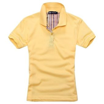 Beads to solid color Short sleeve lettered T-shirt polo shirt (Yellow)