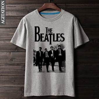 Beatles retro Cotton Four people round neck short sleeved t-shirt (Gray 1)