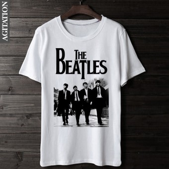 Beatles retro Cotton Four people round neck short sleeved t-shirt (White 1)