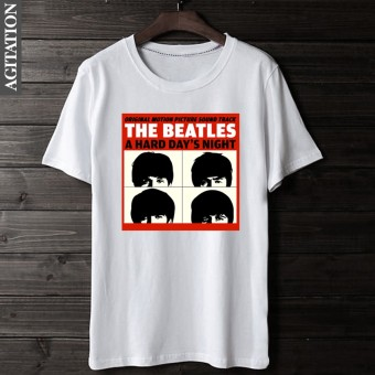 Beatles retro Cotton Four people round neck short sleeved t-shirt (White 3)