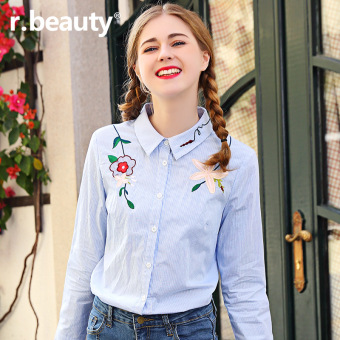 Beauty2017/r17a8550 blue New style flowers embroidered Fold-down collar long-sleeved shirt