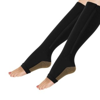 Befu Women Zippered Compression Socks Pantyhose Supports Toe ThighLeg Stocking Black S/M - intl Price Philippines
