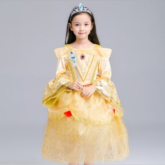 Bell GONGTING girls costume night dress (Gold (to send CROWN + scepter))