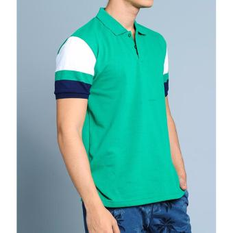BENCH- BTC3838GR3 Men's Striped Sleeve Polo Shirt (Green) - 3