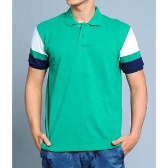 BENCH- BTC3838GR3 Men's Striped Sleeve Polo Shirt (Green)